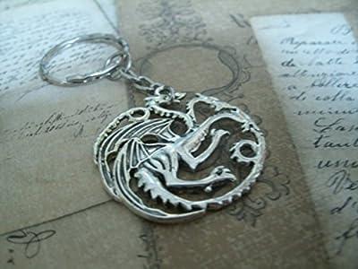 Maison Targaryen - Porte-clés / collier/ boucles d'oreilles représentant le logo des Targaryen de Game of Thrones