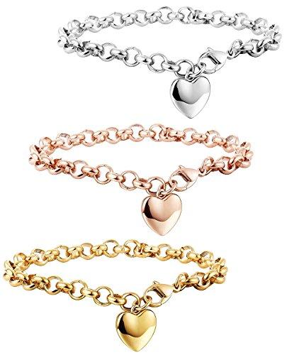 Besteel Edelstahl Herz Frauen Armbänder Damen Mädchen Armband Armkette Frabesilber Gold Rosegold 19cm