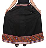 Fashion Store Women's Embroidery Cotton Printed Heavy Skirt (Free Size 41 Inches) Black