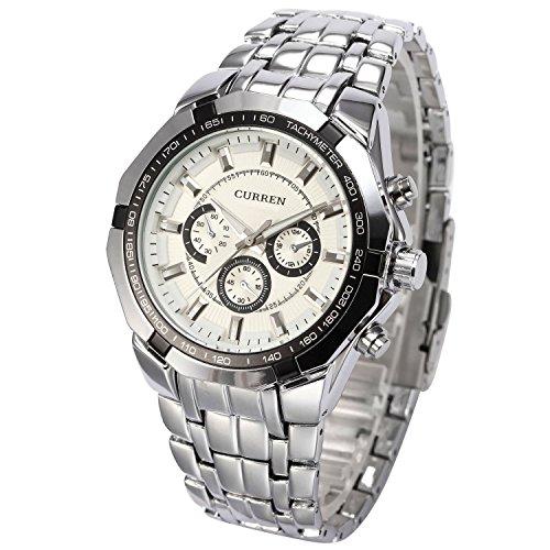 OrrOrr CURREN Analog Herren Uhr schwarz Quarzuhr Edelstahl silber Armbanduhr White