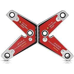 2pcs Aimant de soudage, Keenso Support de Soudage Magnétique Support d'Aimant d'Angle à Souder à Double Usage pour Soudage 60 et 90 Degrés