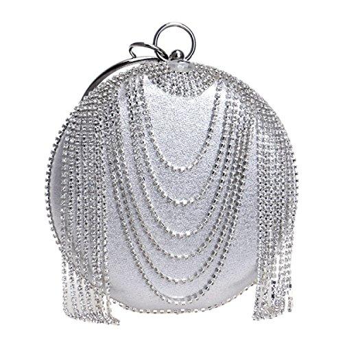 Signora Nuova Nappa Rotondo Solido Elegante Borsa Diamante Damigella D'onore Festa Borsa Da Sera Silver