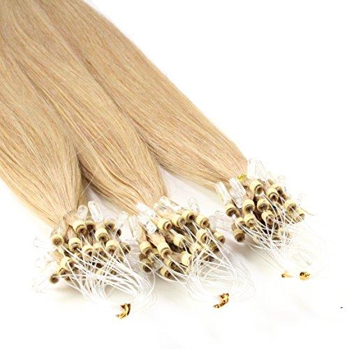 Just Beautiful Hair and Cosmetics Lot de 100 extensions Remy Loop avec micro anneaux pour pose à froid Blond noisette (18) 60 cm
