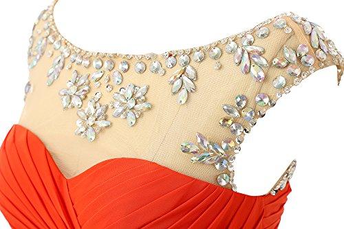 Changjie Damen Elegant Empire Perlen Lang Chiffon Brautjungfernkleid A-Linie Abiballkleid Abendkleider Orange