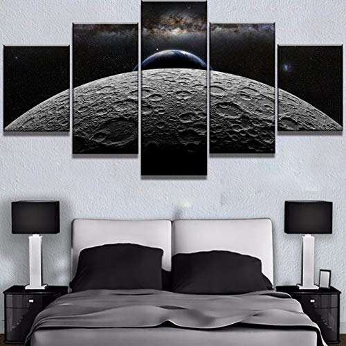 LZLZ 5 Pinturas consecutivas 5 Unidades HD Imprimir Gran Luna Tierra Cielo Espacio Cuadros Decoracion Pinturas sobre Lienzo Arte de la Pared para el Hogar Decoraciones Decoración de la Pared