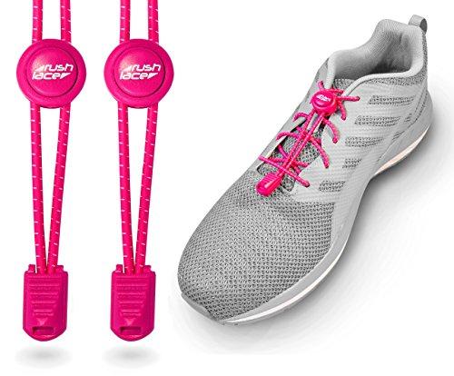 Rush Lace - Elastische Schnürsenkel mit Schnellverschluss aus Gummi - für Erwachsene, Kinder, Senioren geeignet, Sport, Triathlon, ohne Schuhe binden! (Neon-rosa, Neon-pink, 1 Paar) Gummi Neon