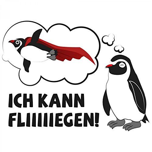 Fashionalarm Herren T-Shirt - Ich kann fliegen   Fun Shirt mit Spruch und Pinguin Motiv Weiß