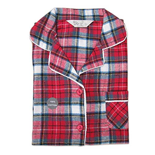 HIUGHJ Pyjamas Red Plaid Qualität 100% gebürstet Baumwolle Herbst Plus Größe weibliche Pyjama Sets Frauen Langarm Pyjamas für Frauen nach Hause tragen (Kostüme Plus Paare Größe)