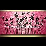 Hohe Qualität handbemalt Landschaft abstrakt Palette Pink Hintergrund Black Cherry Wandbild Ölgemälde House Living Room Art, canvas, schwarz / pink, 32x64inch(80x160cm)