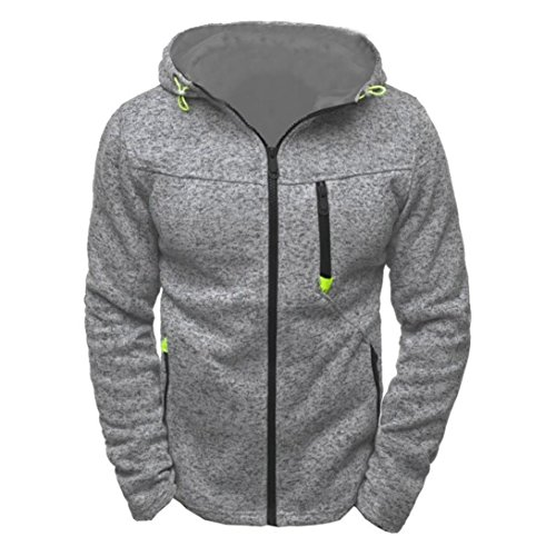Longra Herren Sportswear Kapuzensweatshirt mit Reißverschluss Herren Kapuzenpullover Sweatshirt Hoodie Männer Herbst Winter Kapuzensweatjacke Strickfleecejacke (L, Gray)