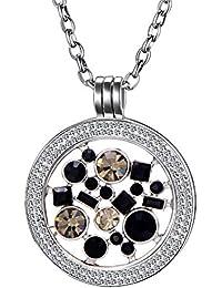 Collar Morella para mujeres de 70 cm fabricado de acero Inoxidable y zirconia con moneda de 33 mm en bolsita de joyas