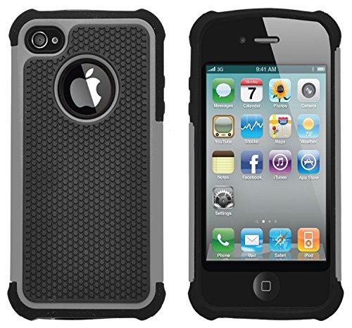 iPhone 4 / 4S Stoßfest Hülle Silikon GizzmoHeaven Schutzhülle Dünn Tasche Hybrid Armor Cover Case Etui Handyhülle für Apple iPhone 4 / 4S - Orange Grau