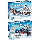 PLAYMOBIL® Set: 9057 Trineo de Perros + 9058 depredador con moto de nieve