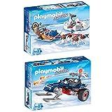 PLAYMOBIL Set: 9057 Trineo de Perros + 9058 depredador con moto de...