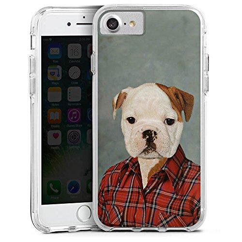 Apple iPhone X Bumper Hülle Bumper Case Glitzer Hülle Hund Dog Chien Bumper Case transparent