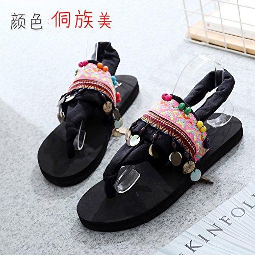 Qingtoo fondo piatto sandali sandali piatta femmina fresco manuale pantofole, il contesto dei gruppi etnici in stati uniti,40