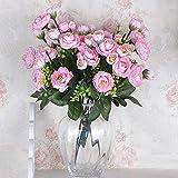 Decdeal Artificial Flowers Silk Flowers Artificial Tea Plum Bouquet for Home Bridal Party Festival Bar Decor