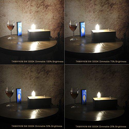 TAMAYKIM C35 6W Dimmbar Glühfaden LED Kerze Lampe, 3000K Warmweiß 600 Lumen, 60W Entspricht Glühlampe, E27 Fassung, Torpedo Form, 360° Abstrahlwinkel, 3er-Pack - 4