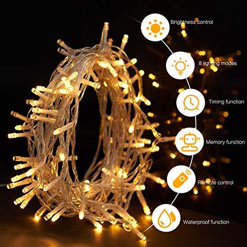 Sunnest 100 LED Lichterkette mit Fernbedienung und Timer, 8 Modi Dimmbar Outdoor Weihnachtslichterkette Batteriebetrieben, 10m, Warmweiß
