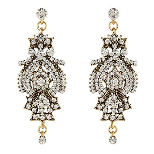 Clearine orecchini vintage ispirato cristallo floreale lampadario bucato ciondolo orecchini stile antico oro-fondo trasparente