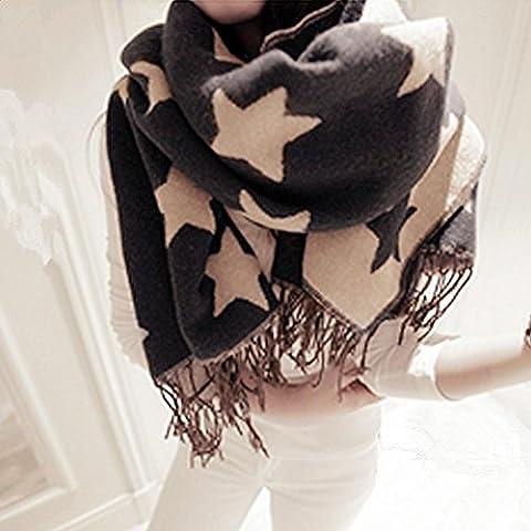 Donna inverno caldo stile dolce coreano nappe modelli stelle punta spessa finto cachemire sciarpa scialle