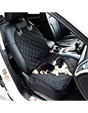 Fluffy's Luxurious Waterproof Non-Slip Oxford Fabric Pet Front Seat Cover Dog Cat Car Mat for Truck Carrying Puppy, Black, 550 g