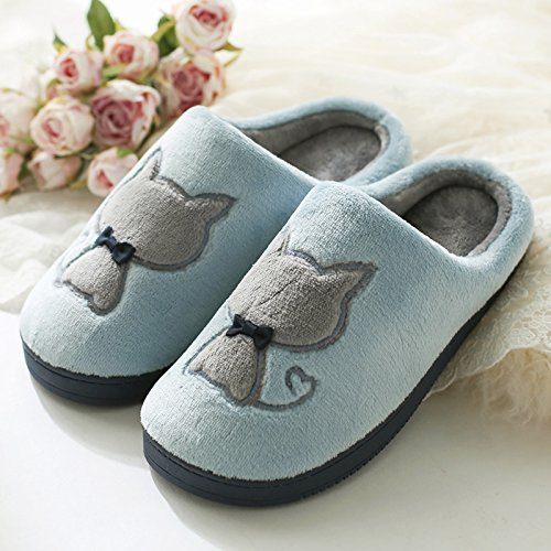 DogHaccd pantofole,Il cotone pantofole inverno femmina indoor anti-slittamento coppie spesso soggiorno mezza pensione con pantofole e calda giovane Cartoon carino Blu chiaro4