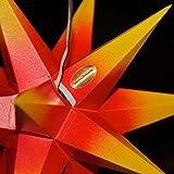 1 Papierstern beleuchtet, rot mit gelben Spitzen, Sternschmiede (ArtNr. 304) mit Kompaktnetzteil