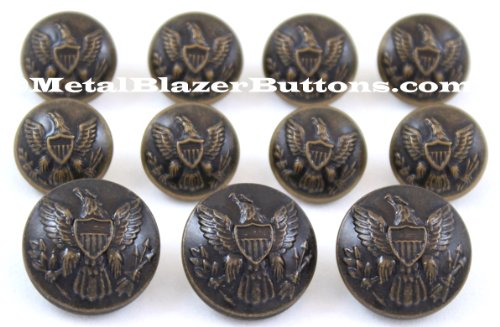 Waterbury (Button CO. American civl Krieg ~ Union Armee Eagle ~ antik messing finish Metall Blazer Button Set ~ 11 Metall Fashion Button Set für ein Mann einreihiger Blazer, Sport Mantel, Jacke, oder Uniform ~ metalblazerbuttons. CO. UK