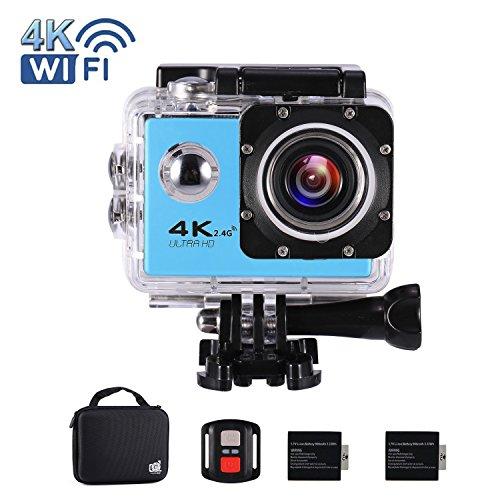 """Cámara Acción Deportiva Ultra HD 4K 16MP WiFi Impermeable DV Videocámara Acuática 2.0"""" LCD 170° Gran Angular 2 Pulgadas LCD Screen / 2.4G control Remoto / 2 Baterías Recargables (Azul)"""