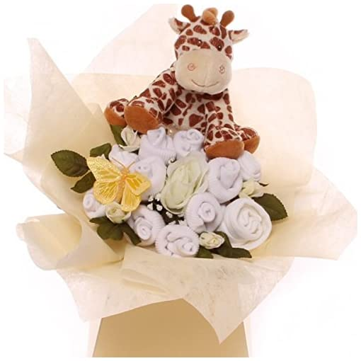 FREE Delivery Neutral Unisex Baby Clothes Bouquet gift with toy