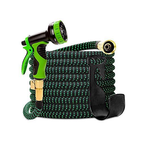 Tuyau Arrosage Extensible Magic Flexible Haute Pression Pistolet De Lavage De Voiture Tuyau D'arrosage Télescopique avec Pistolet (Color : Green, Size : 100ft)