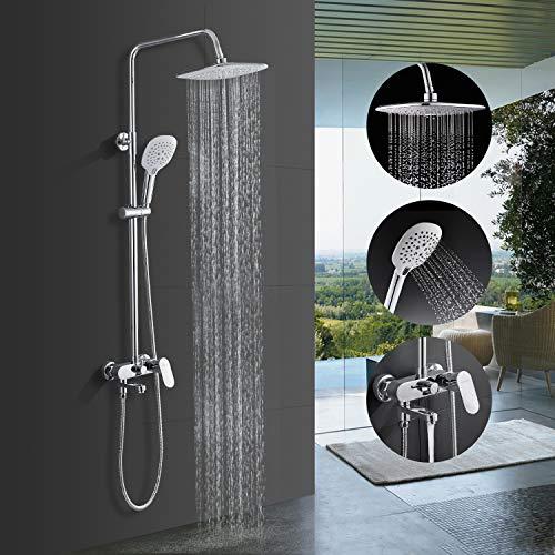 BONADE Duschsystem Duscharmatur 9 zoll Überkopfbrause Set Handbrause mit 3 Strahlarten höhenverstellbare Duschsäule mit Wandhalterung Regendusche Kopfbrause Brausesystem für Bad Badwannen Chrom