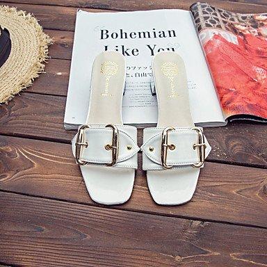 Sandales femmes semelle légère d'été occasionnels de PU Boucle Talon bas White