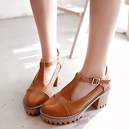 TAOFFEN Femme Mode Bloc Talon Haut Platform Chaussures Basse Decontracte Bureau Chaussures Jaune
