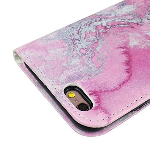 iPhone 7 Case Leder, iPhone 7 Hülle Leder, iPhone 7 Bumper Hülle, Moon mood® Ledertasche für Apple iPhone 7 (4.7 Zoll) , PU Leder Cover Hülle Folio Handyhülle Gemalt Muster Premium Bumper Tasche Backc Rote Marmor