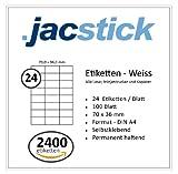 Jacstick 100 Blatt DIN A4 selbstklebende Etiketten. (24 Etiketten / Blatt - 70x36)
