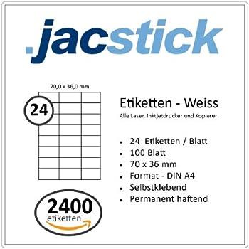 100 Blatt Klebeetiketten DIN A4 weiß 70x135mm Laser Inkjet Kopierer