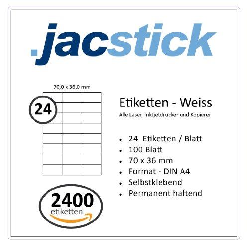 Avery Etiketten Volle Blatt (Jacstick 100 Blatt DIN A4 selbstklebende Etiketten. (24 Etiketten / Blatt - 70x36))