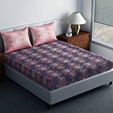 #8: Spaces Essential 144 TC Cotton Double Bedsheet with 2 Pillow Covers - Abstract, Tan