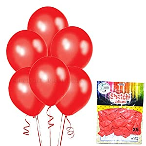Gifts 4 All Occasions Limited SHATCHI-1153 SHATCHI 10 Globos de látex de calidad de color rojo metálico para bodas, Navidad, aniversarios, cumpleaños, fiestas, celebraciones, 12 pulgadas