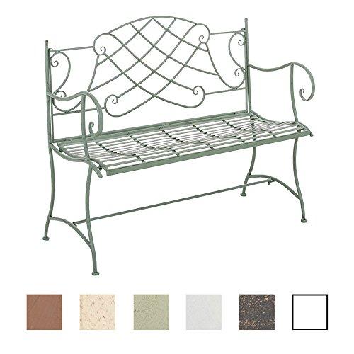 CLP Nostalige Metall-Gartenbank SELENA im Landhausstil, aus lackiertem Eisen, 109 x 43 cm - aus bis zu 6 Farben wählen Antik Grün