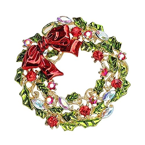 *UK* Silver-Tone Coloured Ribbon Wreath Brooch 4.0 x 4.0cm Green Rhinestone Red Garland Christmas Pin Ivy