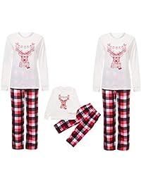 Zolimx Weihnachten Familien Pyjamas Nachtwäsche Daddy und Mom Kinder Baby Santa Deer Tops Bluse Hosen Familien Pyjamas Nachtwäsche Christmas Set