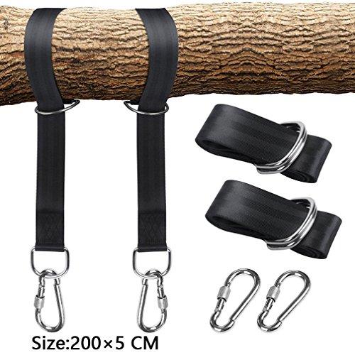 Amitafo Schwingen Befestigungsset Aufhängeset Schaukel Befestigung Baum, 1 Paar Befestigungsband 2 Heavy Duty Hook Karabiner 1 Tragetasche, für Schaukeln Hängematten und Hängesesseln -