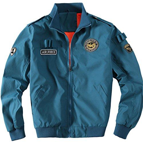 WS668 Herren Stehkragen Mode Dünne MA1 Flight Mantel Und Winter Faux Pelz Gefüttert Dick Militär Jacken Mens Fashion Jackets Blau