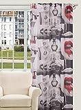 140x245 grau schwarz rot Vorhang Gardine Schlaufenschal Lippe Pop Art