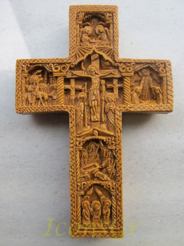 Intagliate a mano aromatico cera Cross blessed from Mount Athos Byzantine Style 234