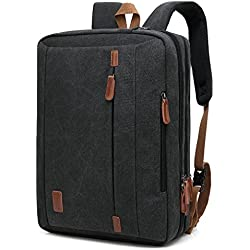 CoolBell 17,3 Zoll umwandelbar Laptop Tasche/Rucksack Messenger Bag Canvas Gewebe Umhängetasche Business Briefcase Backpack Mehrzweck Aktentasche für Laptop/MacBook / Tablet/Herren / Damen(Schwarz)
