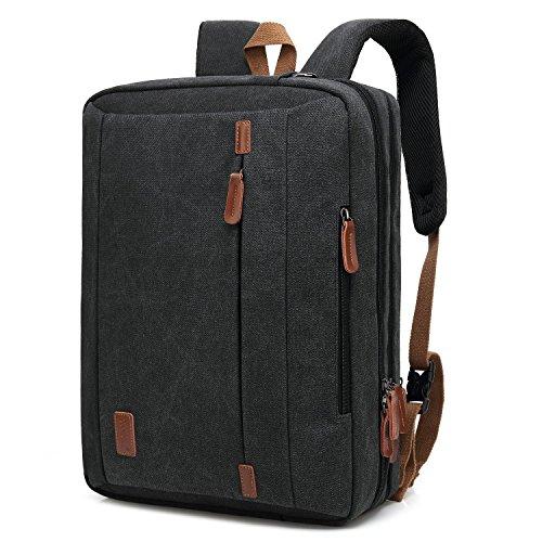 CoolBell 17,3 Zoll umwandelbar Laptop Tasche/Rucksack Messenger Bag Canvas Gewebe Umhängetasche Business Briefcase Backpack Mehrzweck Aktentasche für Laptop/MacBook / Tablet/Herren / Damen(Schwarz)